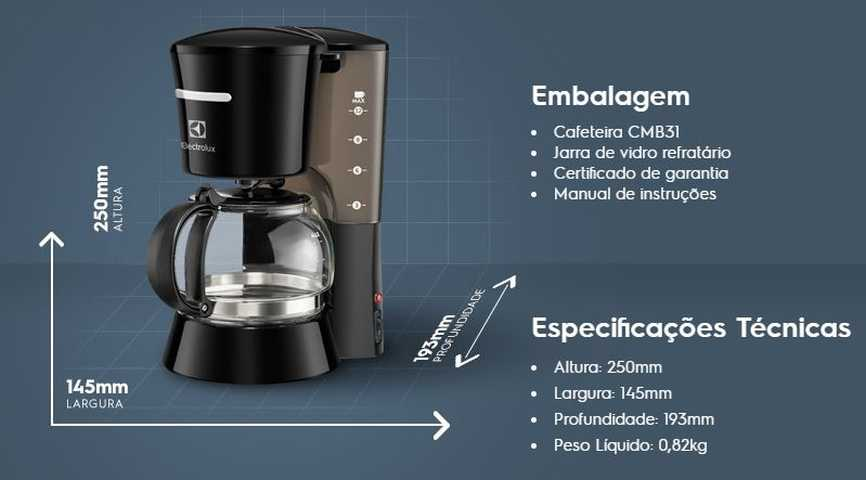 Medidas da cafeteira Electrolux CMB31