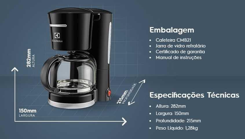 Medidas da cafeteira Electrolux CMB21