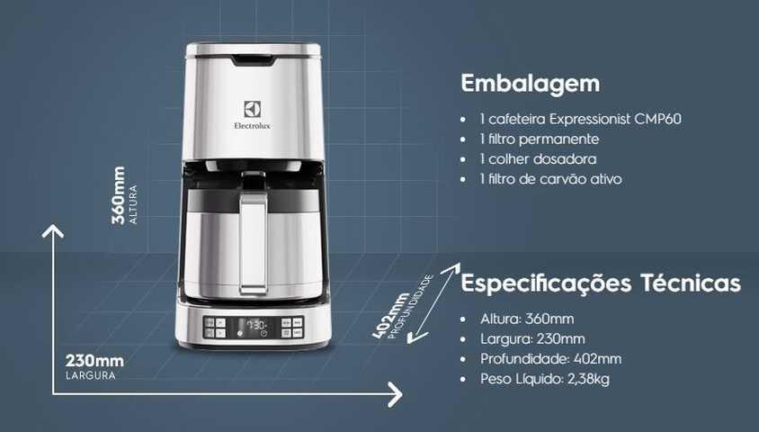 Medidas da cafeteira Electrolux CMP60