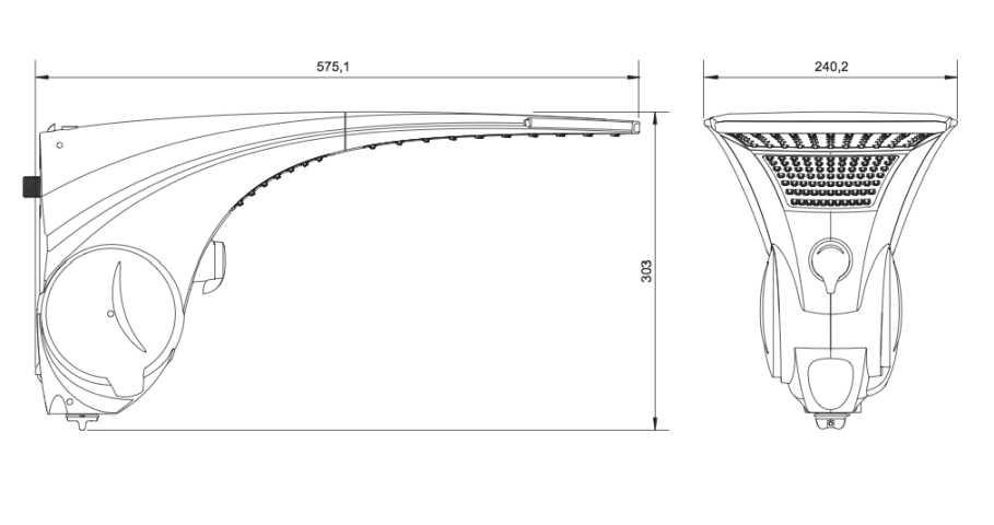 Medidas da ducha Lorenzetti Duo Shower Quadra Turbo Eletrônica