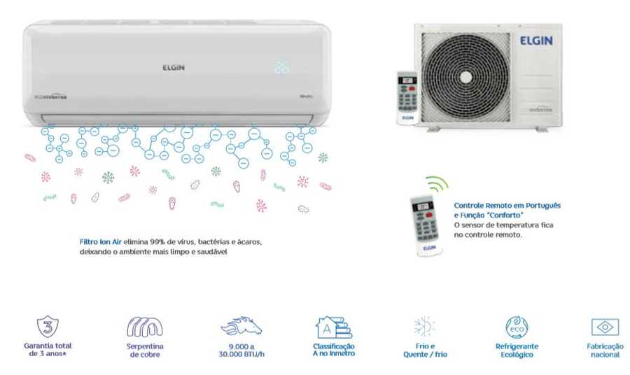 Manual do Ar Condicionado Split Elgin Eco Inverter Frio 18.000 BTU
