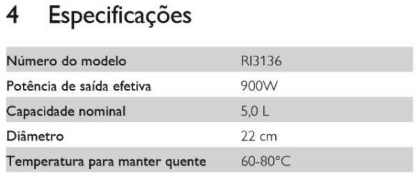 Panela de pressão elétrica Philips Walita 5L Viva Collection - Especificações