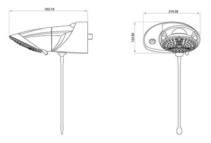 Medidas da Ducha LorenzettI Top Jet Turbo Multitemperaturas