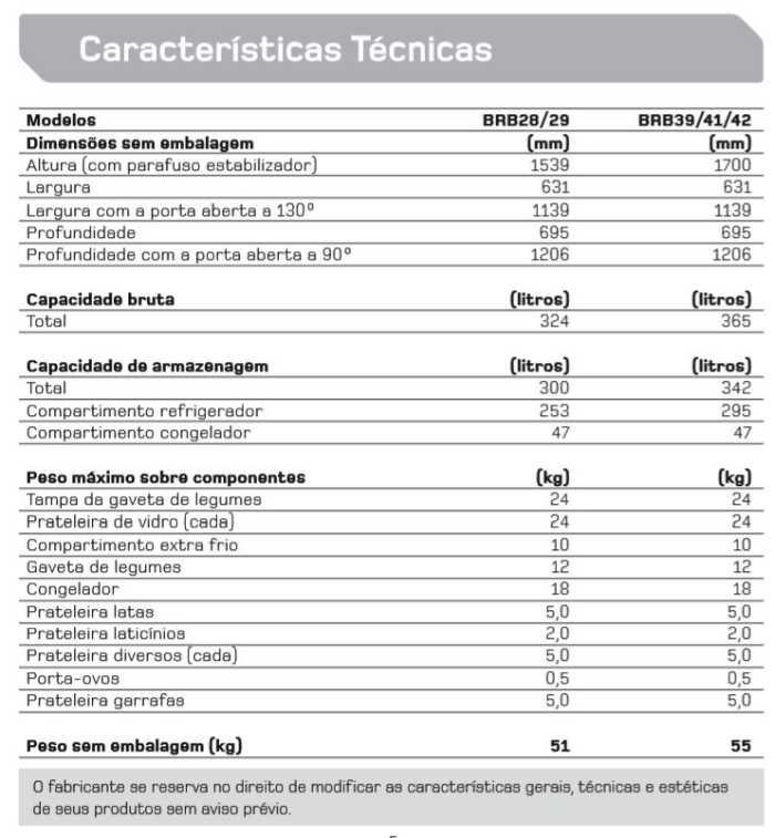 Geladeira Brastemp BRB39 - Especificações