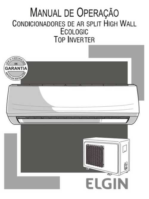 Manual do Ar Condicionado Split Elgin Top Inverter Frio 9000BTU