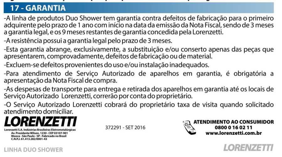 Ducha Duo Shower Lorenzetti - termo de garantia