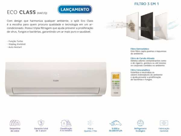 Manual do Ar Condicionado Elgin Split High Wall Eco Class Frio - 9.000 BTU