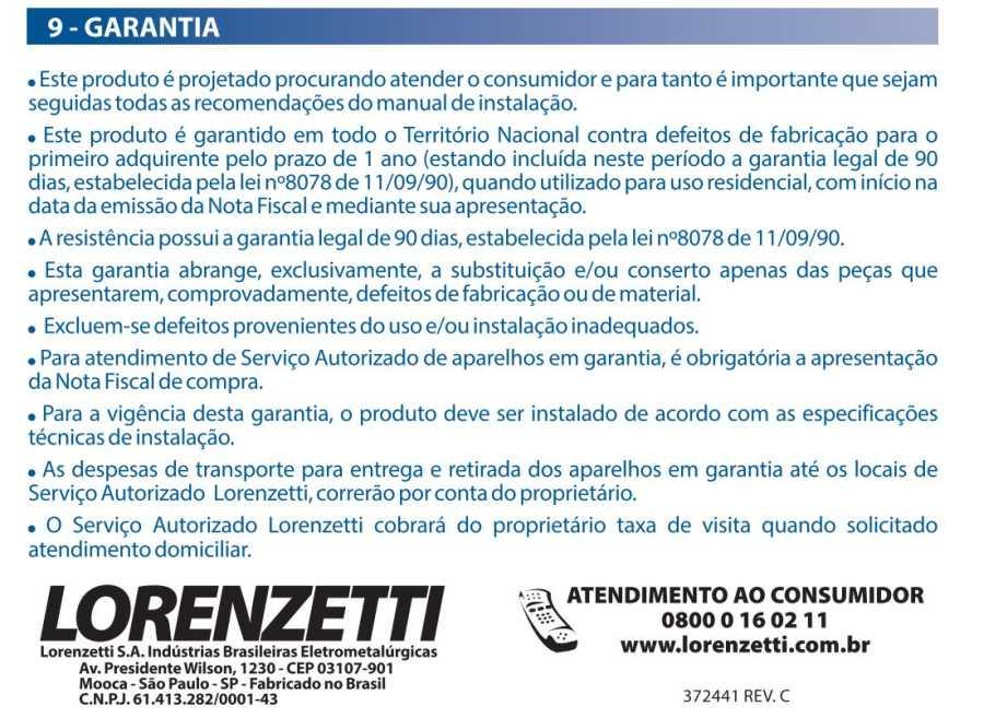 Ducha Futura Lorenzetti - termo de garantia