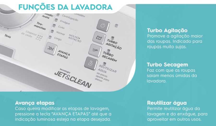 Lavadora de Roupas Electroux LAC09 - funções