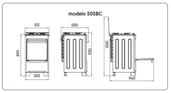 Fogão a gás Electrolux 52SBC - dimensões externas