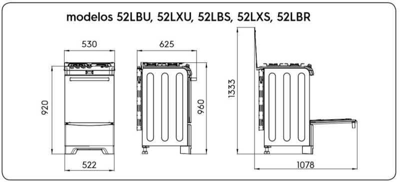 Fogão a gás Electrolux 52LBR - dimensões externas