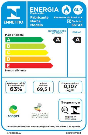 Fogão a gás Electrolux 56tax -Selo procel