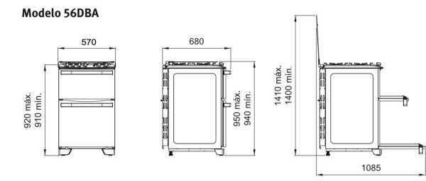 Fogão a gás Electrolux 56DBA - dimensões externas