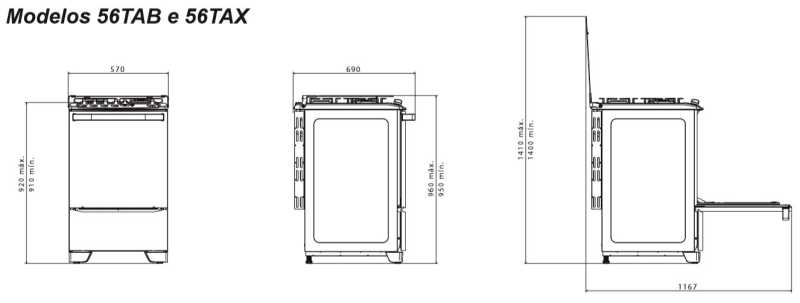 Fogão a gás Electrolux 56tax - especificações técnica - dimensões