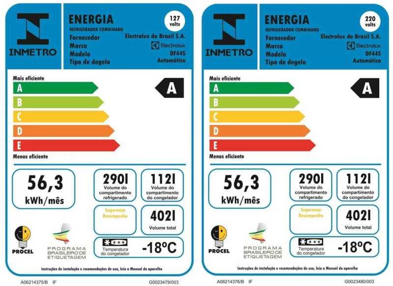 Medidas da Geladeira Electrolux DF44
