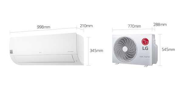 Ar condicionado LG Dual Inverter quente e frio 18.000 BTU - dimensões externa