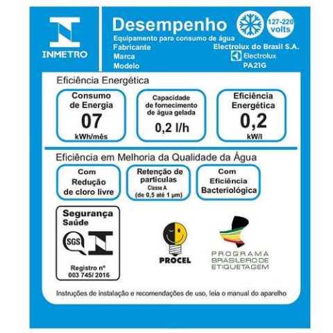 Purificador de água Electrolux PA21G - selo inmetro