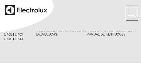 Lava louças Electrolux 10 serviços - LI10 - capa manual