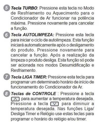 Ar condicionado Electrolux - TI/TE09F - controle remoto