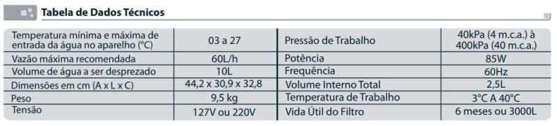 Purificador de água Esmaltec Acqua7 - especificações técnica