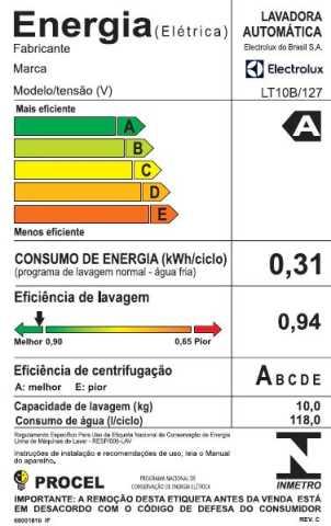 Lavadora de Roupas Electroux LT10B - selo procel