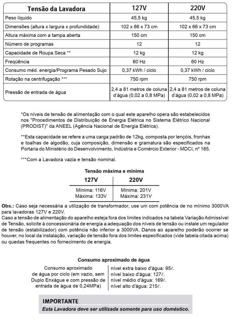 Lavadora de Roupas Electroux LT12B - especificações técnicas
