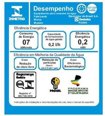 Purificador de água Electrolux PA26G - selo inmetro