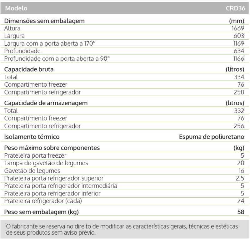 Geladeira Consul CRD36 - especificações