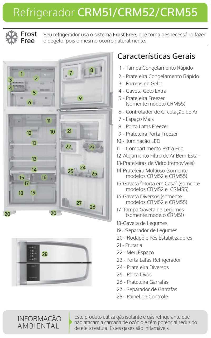 Geladeira Consul CRM52 - partes da geladeira