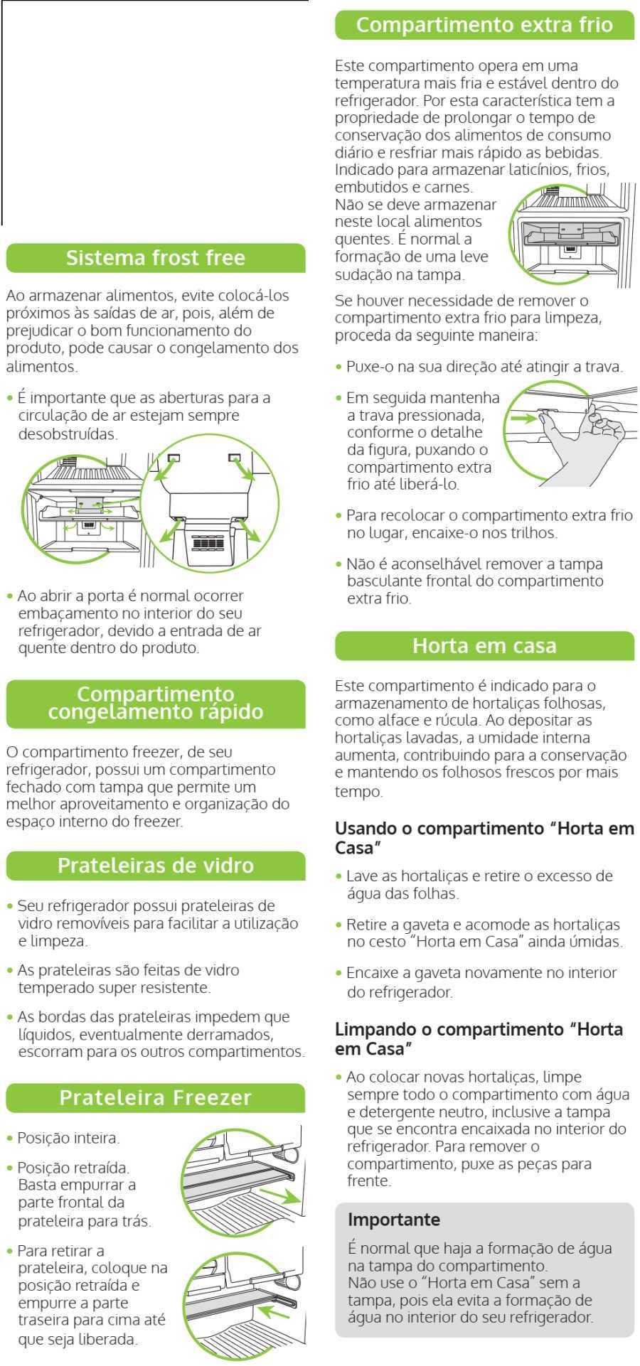 Geladeira Consul CRM52 - componentes