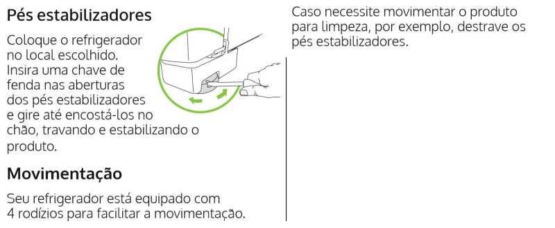 Geladeira Consul - Nivelamento dos pés