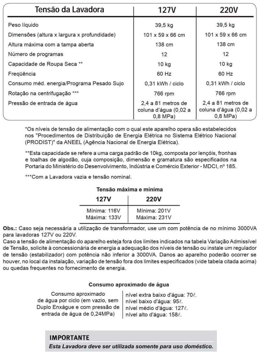 Lavadora de Roupas Electroux LT10B - especificações técnicas