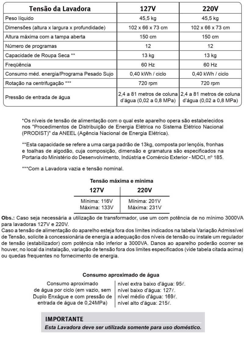 Lavadora de Roupas Electroux LT13B - especificações técnicas