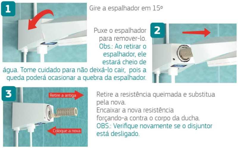 Ducha Corona Quadratta Max Eletrônica - troca resistência