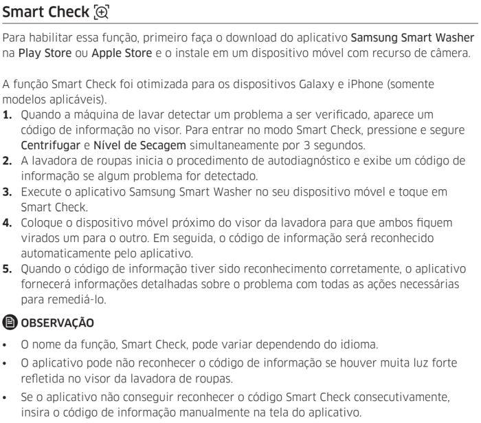 Lava e Seca Samsung - wd11j6 - solução de problemas - smatcheck