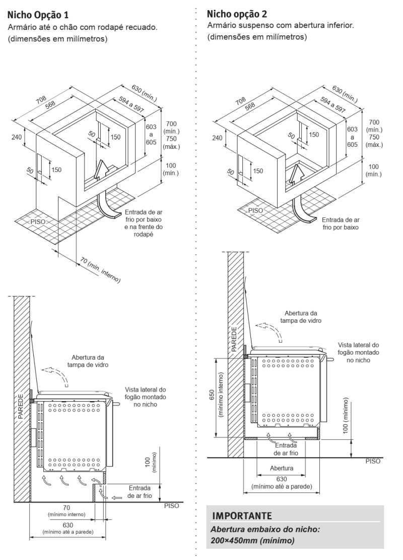Instalação do fogão Electrolux 52EXT - medidas do nicho de instalação