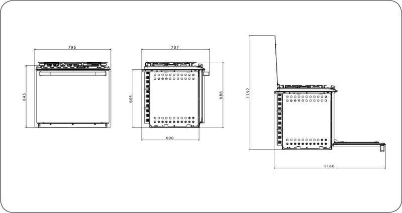 Fogão a gás Electrolux 76EBR - dimensões externas