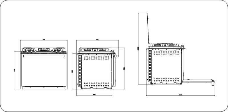 Fogão a gás Electrolux 76EXV - dimensões externas