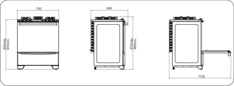 Fogão a gás Electrolux 76USV - dimensões externas