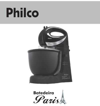 Batedeira Philco - capa manual