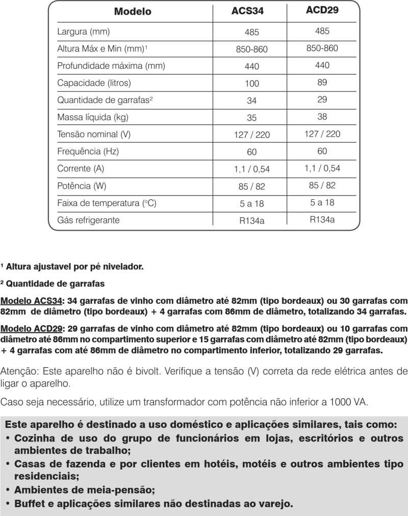 Adega Electrolux - Especificações técnica ACD29
