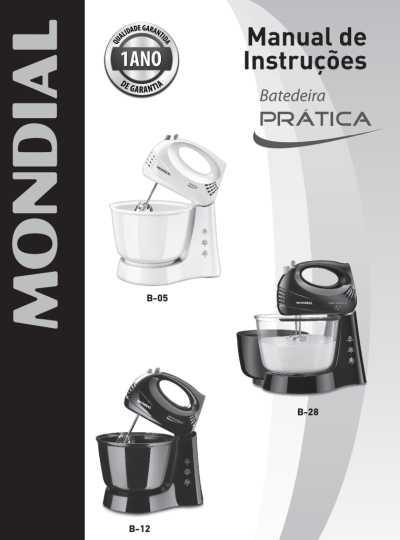 Batedeira Mondial - capa manual