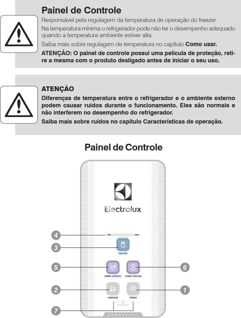 Geladeira Electrolux - conhecendo os componentes - painel de controle - TF52