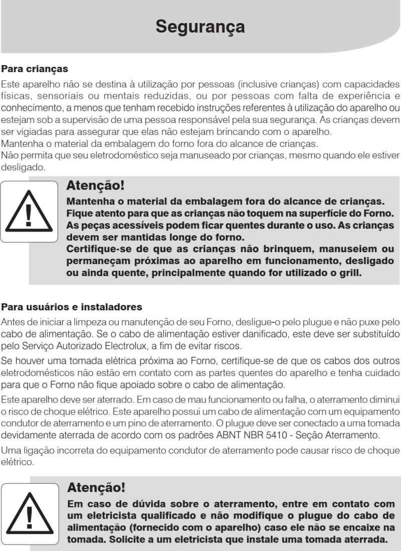 Forno a gás Electrolux - instruções de segurança