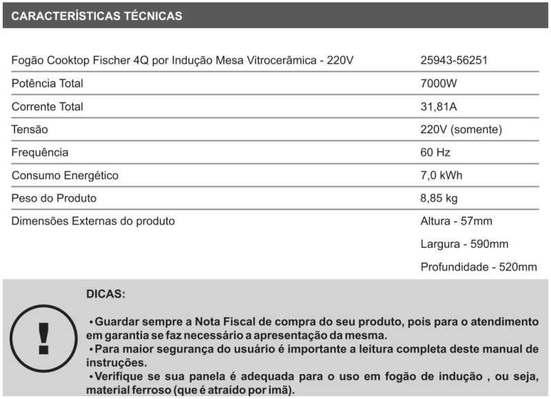 Cooktop de indução Fischer - conhecendo especificações técnica - 25943