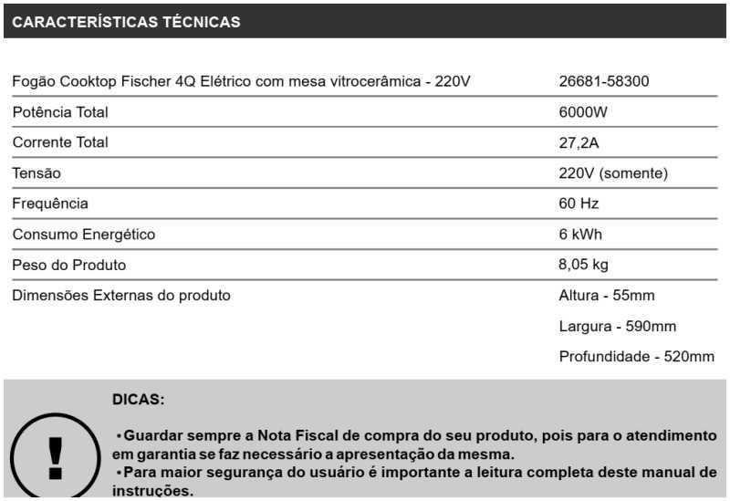 Cooktop elétrico Fischer - conhecendo especificações técnica - 26681