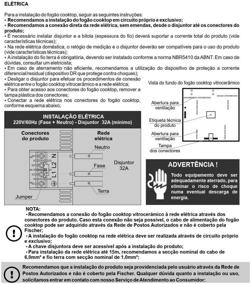 Cooktop elétrico Fischer - instalação - 26681
