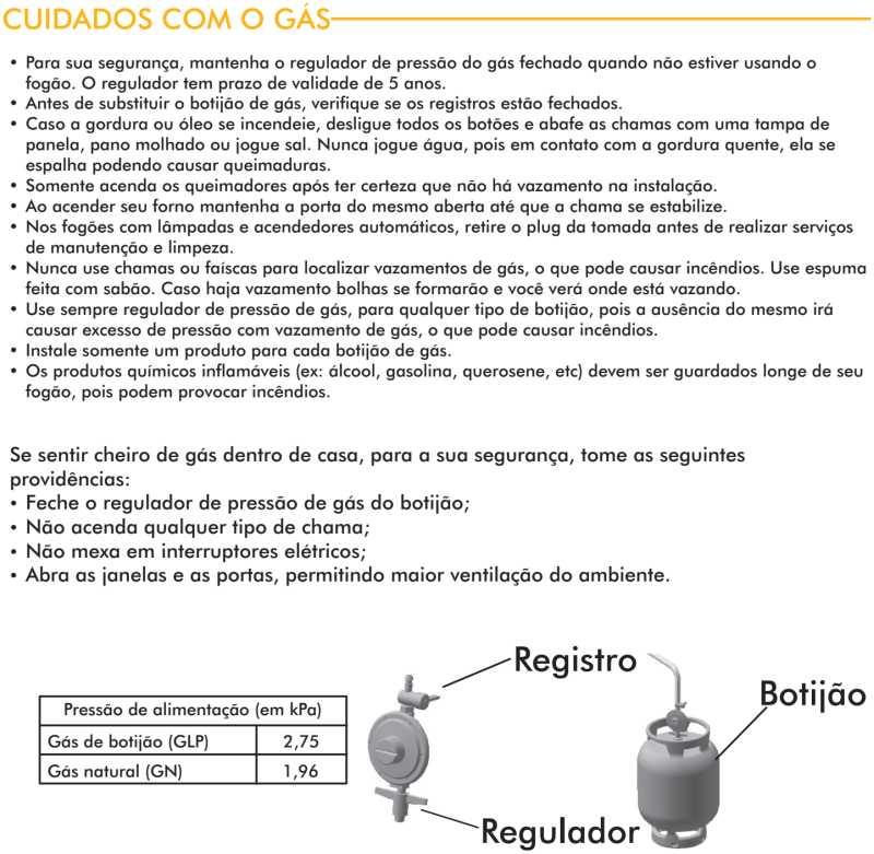 Fogão a gás Atlas Agile Glass - instruções de segurança