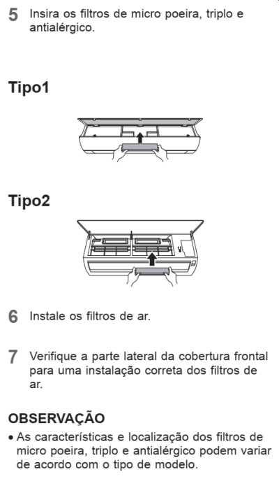 Ar condicionado LG dual inverter - tabela limpeza