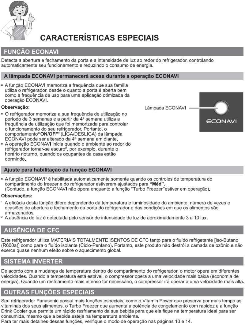 Características especiais - Geladeira Panasonic